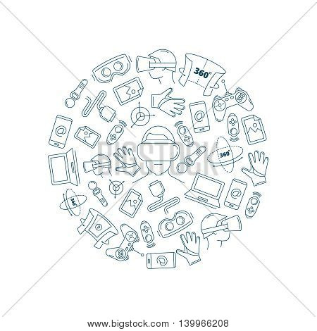 Vector pictures in circle shape of virtual reality accessories. 360 degree view. Elements isolate on white background
