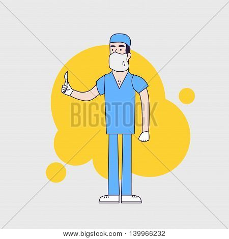 Vector character of surgeon in medical uniform. Doctor in professional clothesmask and hat. Surgeon holds scalpel. Flat line style design