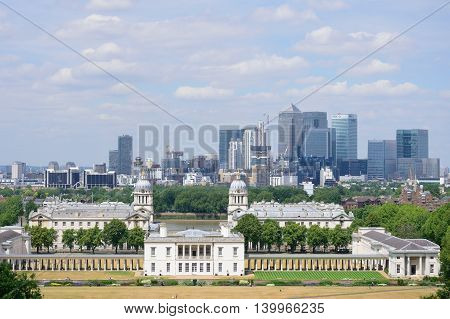 GREENWICH LONDON 25 JUNE 2015: Canary Wharf from Greenwich Observatory