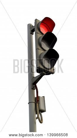 Traffic lights - red light. Isolated on white background