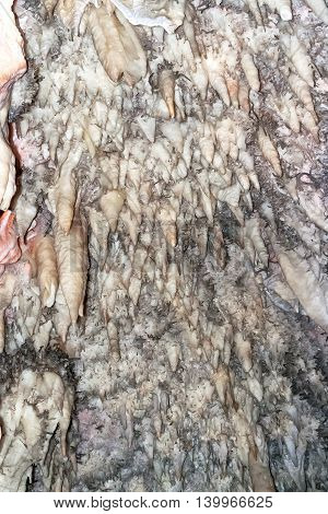 Bellamar caves (Cuevas de Bellamar) Cuba. Underground geological landmark with different types of stalactites and stalagmites. Close up photo of salt stone wall.