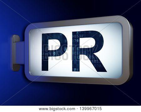 Marketing concept: PR on advertising billboard background, 3D rendering