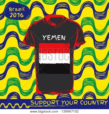Hand drawn vector. vector pattern with t-shirt with country flag. Support your country. Yemen national flag.