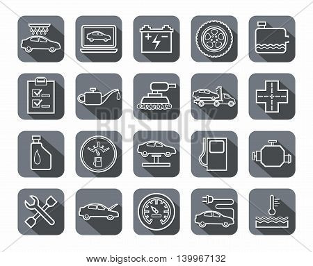 Repair and maintenance of vehicles, contour icons, gray. Vector icons of auto repair shop services. The white contour drawings on gray background with shadow.