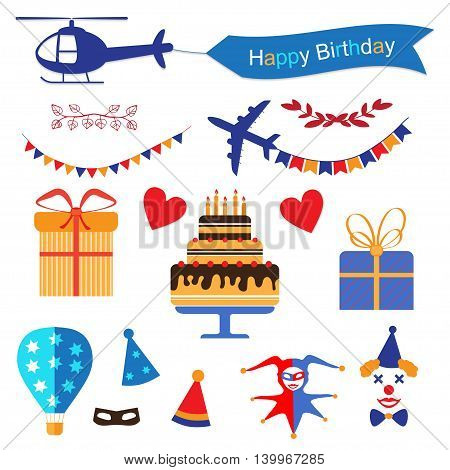Party and Celebration icon collection - vector colorful illustration. Happy Birthday symbols