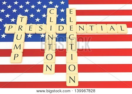 BERLIN GERMANY - JULY 26 2016: US Presidential election 2016: Letter tiles clinton trump