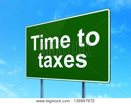 Timeline concept: Time To Taxes on green road highway sign, clear blue sky background, 3D rendering