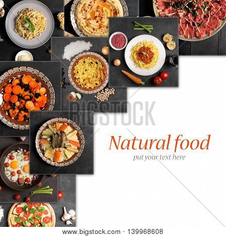 Collage from photos of different natural food with copy space
