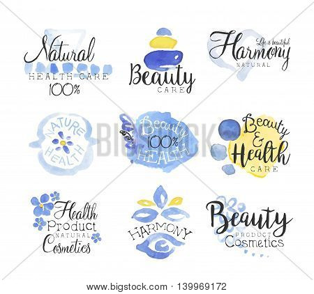 Beauty And Spa Promo Signs Colorful Set Of Watercolor Stylized Logo With Text On White Background