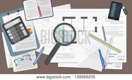Work Desk architect , builder of the drawings , documents , calculator , pencils , a ruler , a magnifying glass , a telephone and a notebook
