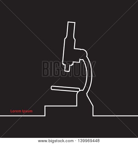 Microscope silhouette on a black background, vector illustration