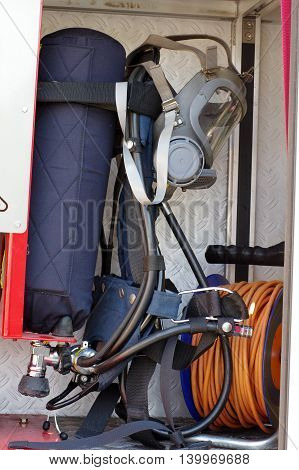 Fire breathing apparatus equipment fire truck detail.