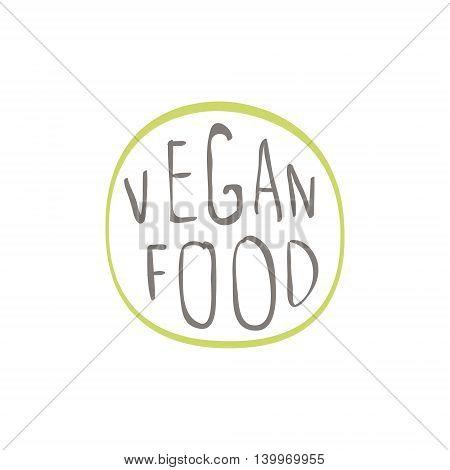 Vegan Food Product Logo Design. Cool Flat Vector Design Template On White Background