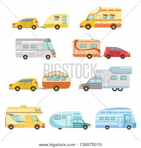 Camper Vans With Trailers Set Of Icons. Family Motorhome Flat Colorful Car Set. Microbus For Family Vacation Set Of Isolated Illustrations.