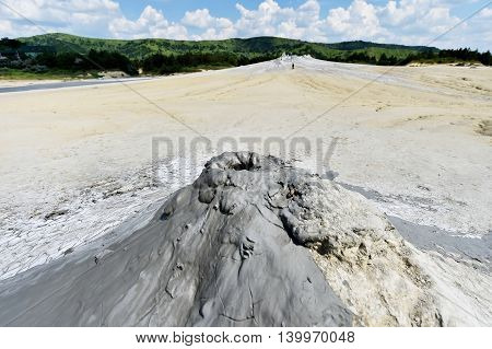 Landscape with mud volcanoes also known as mud domes in summer season
