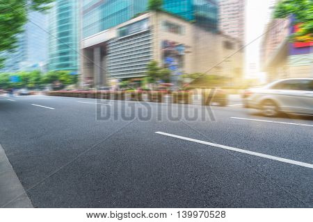 City road with moving traffic,shanghai china.