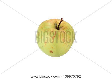 Green apple with orange stripes on absolute white background