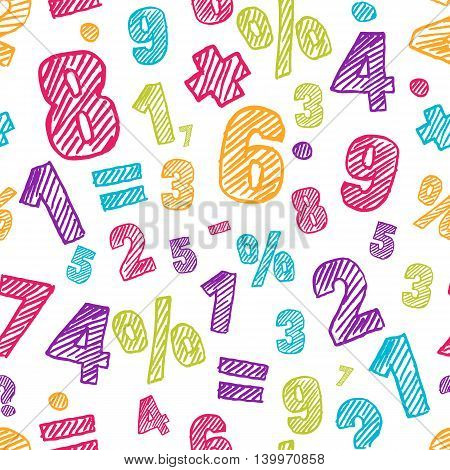 Sketch Multicolor Numbers Seamless Pattern. Abstract Colorful Vector Background.