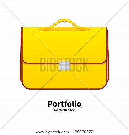 Vector illustration yellow school bag on an isolated white background. Icon portfolio online. Beautiful female handbag.
