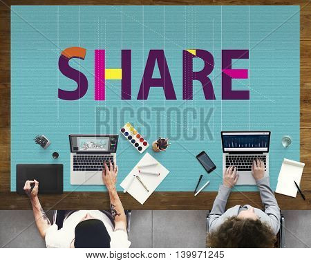 Share Sharing Social Media Networking Connection Communication Concept