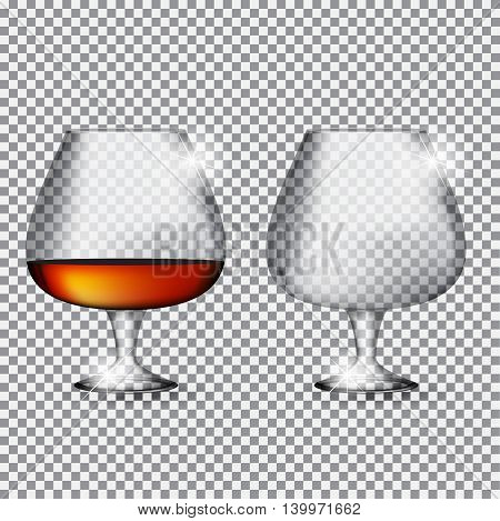 Glass of  Cognac Empty and Full on Transparent Background Vector Illustration EPS10