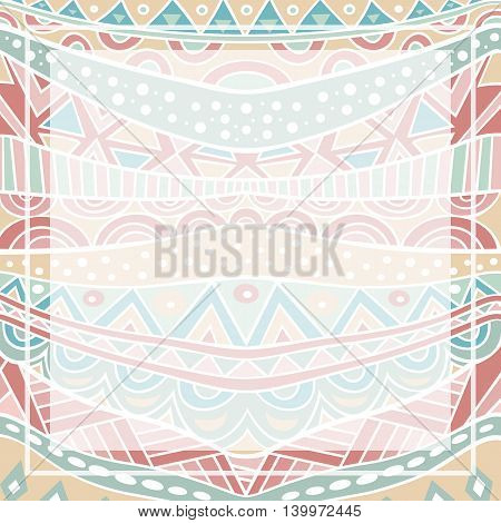 Vintage decorative background with ethnic ornament. Tribal geometric pattern in trendy retro colors. Abstract ornate square backdrop. Vector illustration.