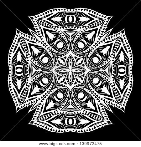 Orient style decorative element. White icon at black background. Ornate symbol ethnic pattern. Tribal lacy ornament. Vector illustration.