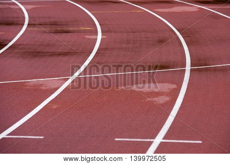 Red Running Athletic Track Bad Weather, Wet