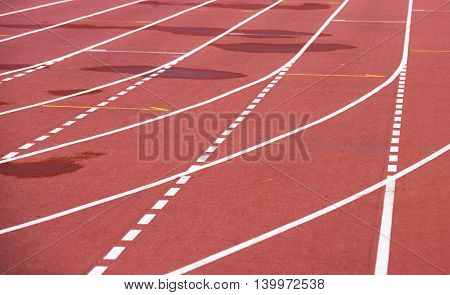 Red Running Athletic Track, Bad Weather, Wet