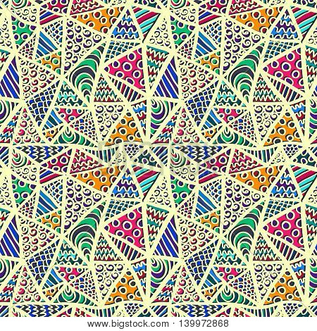 Zentangle pattern. Sketch effect ornament. Abstarct tangled triangles pattern. Vector texture for backgrounds printed products or fabric.