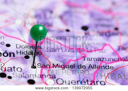 San Miguel de Allende pinned on a map of Mexico