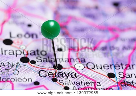 Celaya pinned on a map of Mexico