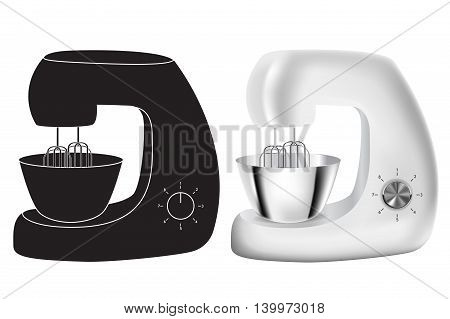 Stand Mixer icon and realistic vector isolated on white background. Stainless steel.