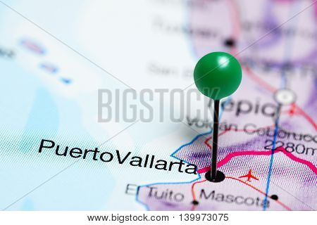 Puerto Vallarta pinned on a map of Mexico