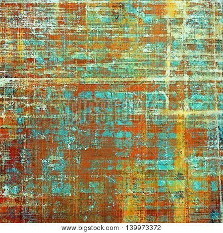 Old-style dirty background with textured vintage elements and different color patterns: yellow (beige); brown; blue; red (orange); cyan