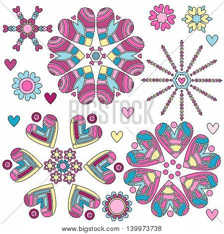 Colorful heart ornament collection over white background
