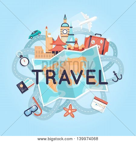 World Travel Russia, USA, Japan, France, England, Italy. Planning summer vacations. Tourism and vacation theme. Flat design vector illustration.