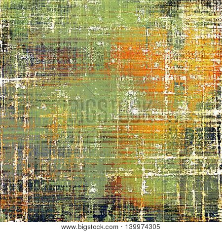 Old grunge vintage background or shabby texture with different color patterns: yellow (beige); brown; gray; green; red (orange); white
