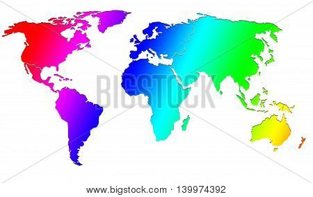 Image of world map with rainbow color