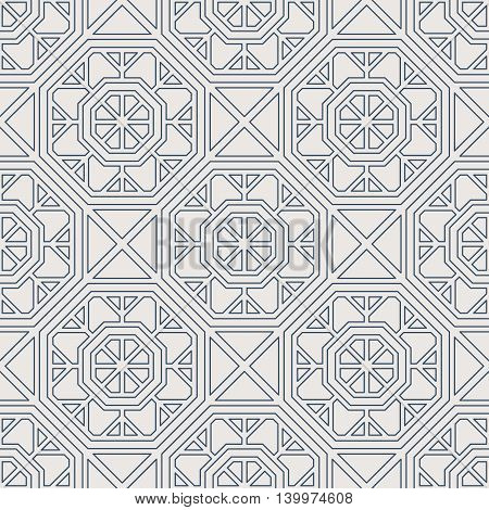 Seamless texture with arabic geometric ornament. Vector lineart pattern