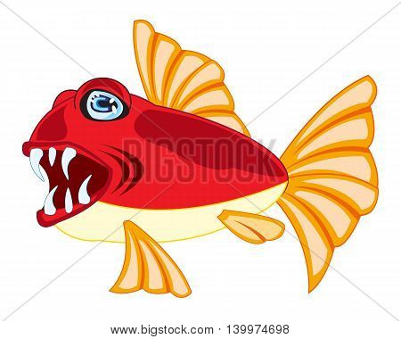 Vector illustration of tropical fish on white background is insulated
