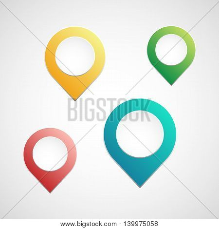 colorful map pointer set of isolated vector symbol