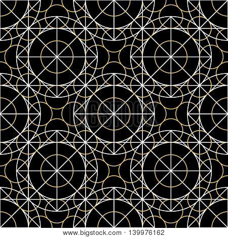 Geometric seamless texture. Vector linear mystical pattern on black background
