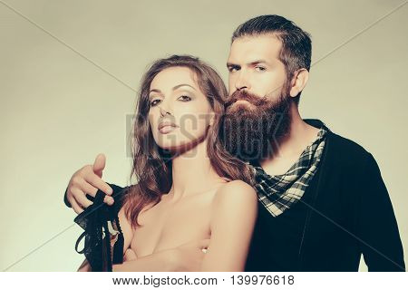 Sexy Couple With Bra In Studio