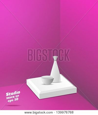 Vector,empty Pink Studio Room With Corner Background ,template Mock Up For Display Or Montage Of Pro