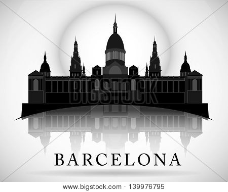 Modern vector Barcelona City Skyline Design. Spain