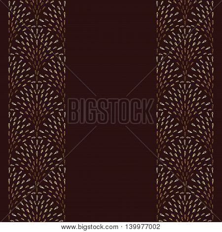 Repeat background with golden fountain pattern. Abstract design hand drawn gold drops elements. Vertical seamless pattern. Repeatable decorative background. Card or flyer template. Copy space. Vector illustration.