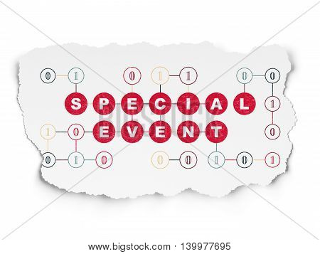 Business concept: Painted red text Special Event on Torn Paper background with Scheme Of Binary Code