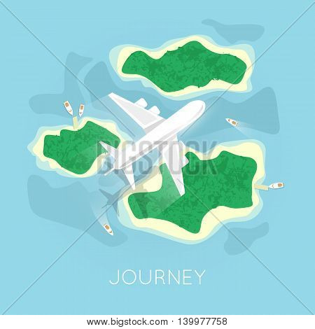 Travel by plane. World adventure. Planning summer vacations. Tourism theme. Plane,island. View from the top. Flat design vector illustration.