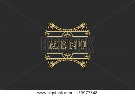 Restaurant Menu Headline on Dark Background. Vector Vintage Design